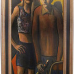 A signed John Mellencamp painting, 'The Happy Couple.