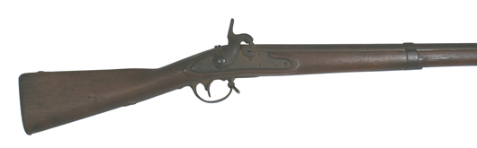 Mexican War-period German-imported musket with rare M1835 Horstmann sword bayonet. Price realized: $1,762. Mohawk Arms Inc. image.