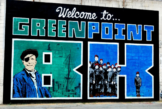 'Skewville, Welcome to Greenpoint BK,' the India Street Mural Project, New York City. Photo via greenpointnews.com