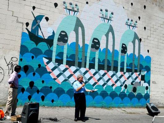 Ali Aschman, 'Untitled,' the India Street Mural Project, New York City. Photo via greenpointnews.com