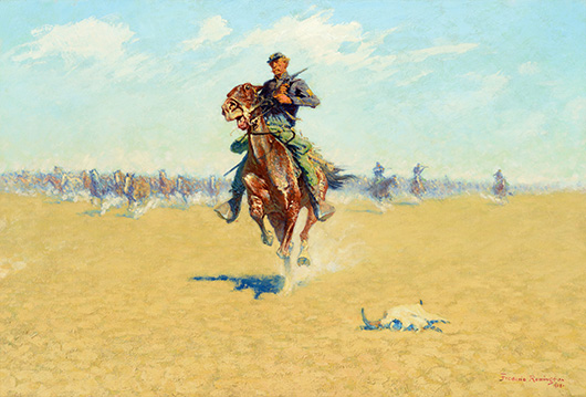 Frederic Remington's 'Cutting Out Pony Herds' (1908), oil on canvas, 27 × 40 inches, sold for $5.6 million. Image courtesy of Coeur d'Alene Art Auction.