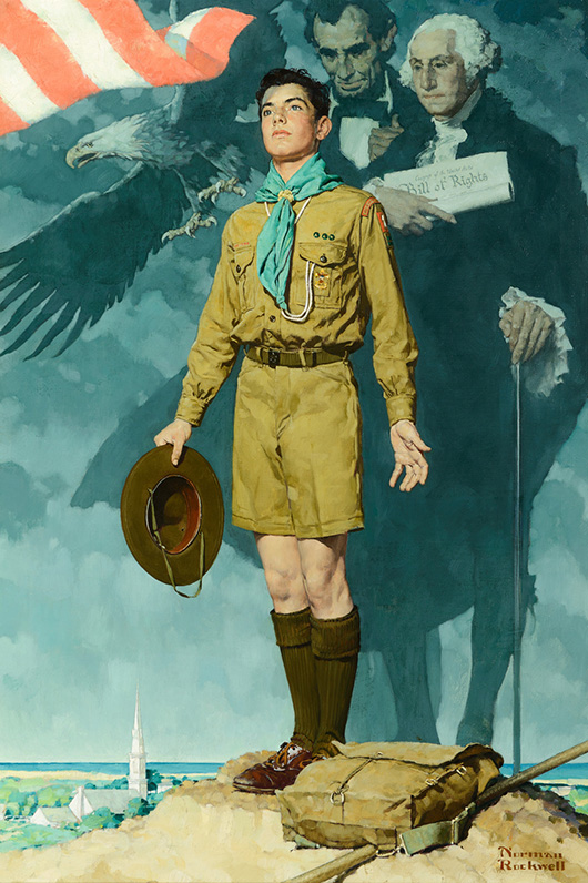 Norman Rockwell (1894–1978), 'A Scout is Loyal' (1940), oil on canvas, 39 × 27 inches, price realized: $4.2 million. Image courtesy of Coeur d'Alene Art Auction.