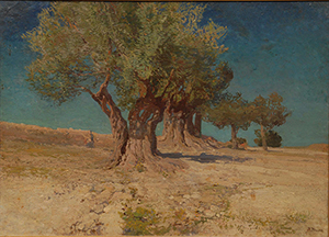 Oil on canvas mounted to a Masonite board by Ivan Trusz (Ukraine/Russia, 1869-1941) of a landscape scene with olive trees on a plateau (est. $8,000-$12,000). Elite Decorative Arts image.