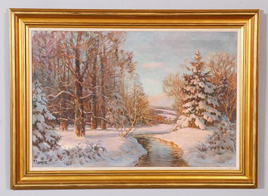 Paul Lauritz, 'Winter Landscape,' oil on canvas. Kaminski Auctions image.