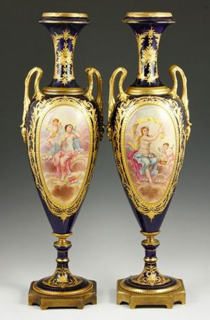 Pair of Sevres vases. Kaminski Auctions image.