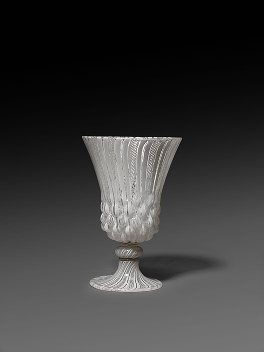 This mold-blown, filigree glass goblet, either Venetian or Venetian style, perhaps made in Amsterdam or Antwerp, circa 1550-1625, is on display at the Courtauld Gallery's 'Illuminating Objects' exhibition until October 14. Image courtesy Courtauld Gallery, (Samuel Courtauld Trust: Gambier Parry Bequest, 1966).