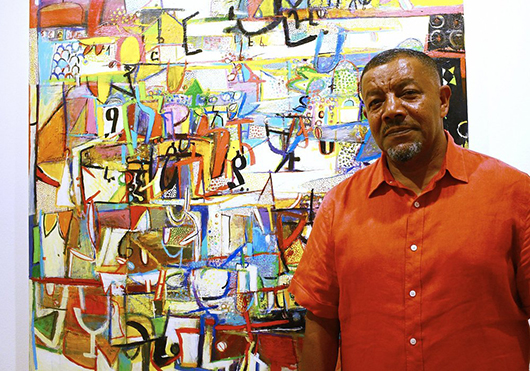 Ethiopian painter Wosene Kosrof, whose first London solo exhibition in 10 years opened at the Gallery of African Art in Cork Street on July 25. Image courtesy the Gallery of African Art.