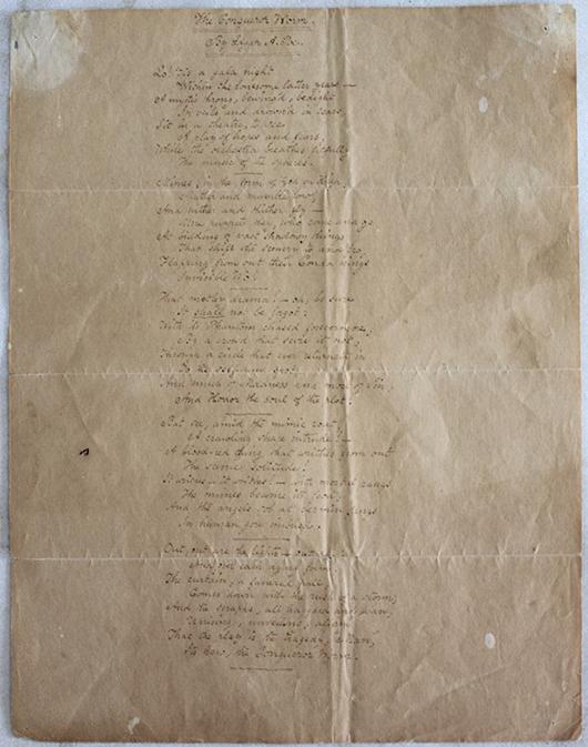 Edgar Allan Poe original handwritten manuscript for the poem 'The Conqueror Worm.' Image courtesy of Marion Antique Auctions.