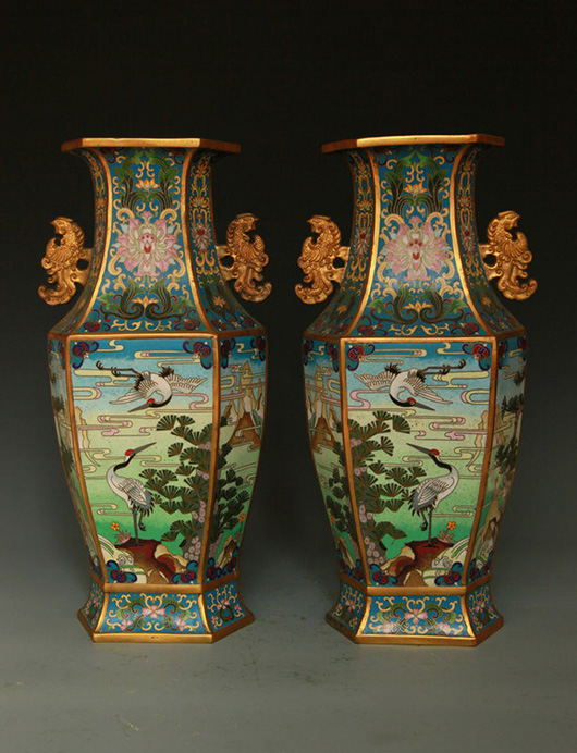 Pair of Chinese cloisonne vases, Qing Dynasty. Archive Auctions image.