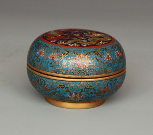 Chinese cloisonne box and jadeite bangle. Archive Auctions image.