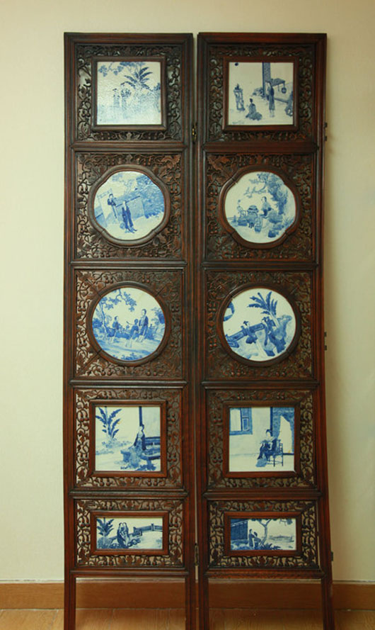 Chinese blue and white porcelain inlaid wood six-panel screen. Archive Auctions image.