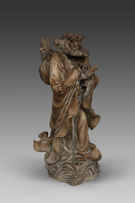 Fine stoneware figure of Bodhidharma, Chinese, Ming Dynasty. Archive Auctions image.