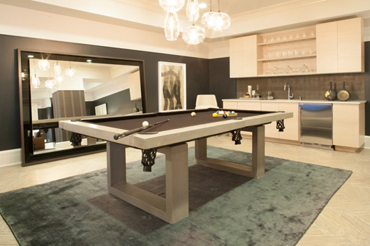 Pool Table By James De Wulf, Concrete With Black Felt Top, Chosen By Worth