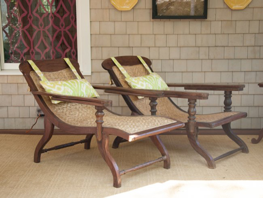 Pair of rosewood and handwoven cane plantation chairs from Cochin, India; Dutch, 1860, chosen by Bryant Keller, opening bid $4,000. Photo by William A. Boyd Jr.