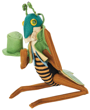 This Italian 7-inch grasshopper is felt with painted wooden eyes. It was made by Lenci, probably in the 1960s, and sold for $336 at a 2012 Theriault's doll auction.