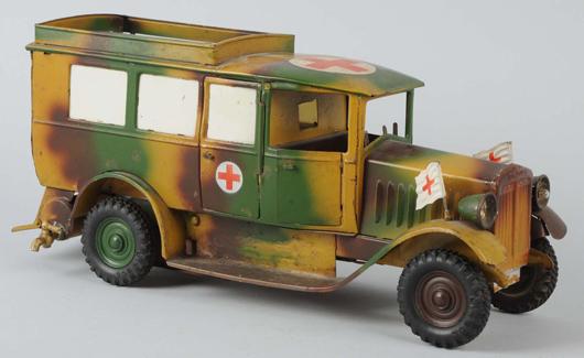 Lineol tinplate clockwork-motor ambulance, 12in long, estimate $2,000-$2,200. Morphy Auctions image.