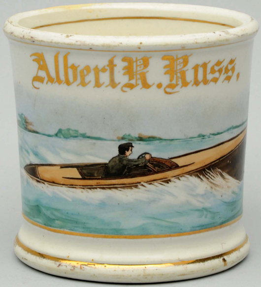 Cruise boat occupational shaving mug with the name 'Albert R. Russ' in gold. Estimate $600-$800. Morphy Auctions image.