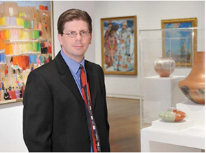 Mark A. White, the Eugene B. Adkins and Chief Curator of the Fred Jones Jr. Museum of Art, has been named the interim director of the museum at the University of Oklahoma, following the resignation of director Ghislain d'Humières. White's new appointment will begin Sept. 3; d'Humières has taken a new position as director of the Speed Art Museum in Louisville, Ky. Photo courtesy of Robert H. Taylor/Sooner Magazine.