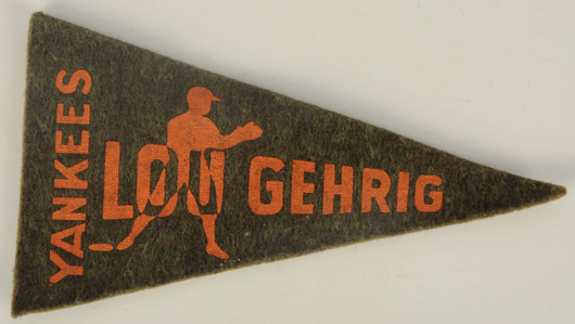 Felt Lou Gehrig/Yankees mini pennant, 1936-1938, from a collection of vintage mini pennants. Estimate $100-$300.