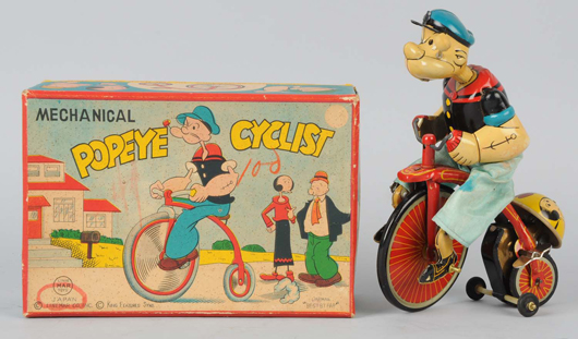 Linemar tin-litho wind-up Popeye Cyclist, offered with original box (not shown), estimate $1,800-$2,500. Morphy Auctions image.