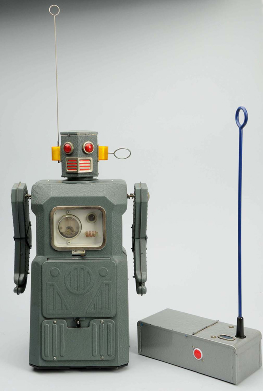 Masudaya battery-operated Radicon Robot from 'Gang of Five' series, Japanese, 14¾in. tall, offered with original box (not shown). Estimate $10,000-$15,000. Morphy Auctions image.