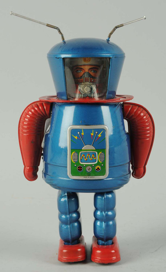 Yonezawa X-27 Explorer robot, tin litho and painted, crank-wind, Japanese, 9¼in. tall, offered with original box (not shown). Estimate $5,000-$7,000. Morphy Auctions image.
