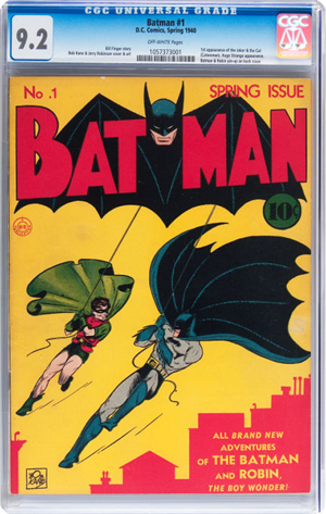 'Batman' #1 (DC, 1940) CGC NM- 9.2 off-white pages. Heritage Auctions image.