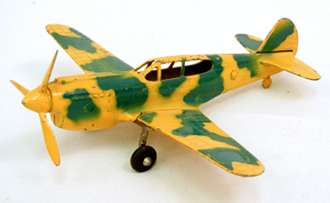 Hubley die-cast P-40 fighter jet plane in camouflage, from the Capt. GR Webster collection. Stephenson's image.