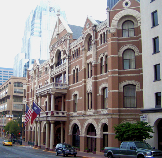 The Driskill Hotel, a Romanesque Revival-style building completed in 1886 in Austin, Texas. The building is on the National Register of Historic Places. Image by Larry D. Moore. This file is licensed under the Creative Commons Attribution-Share Alike 3.0 Unported license.