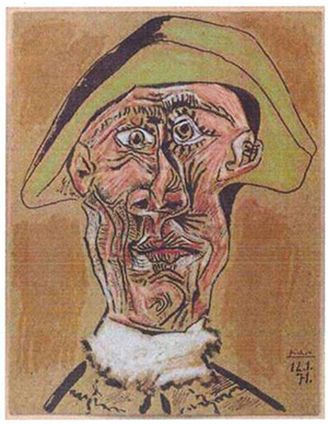 Dutch police handout photo of Pablo Picasso's 'Tete d'Arlequin,' one of several stolen paintings allegedly incinerated by a woman in Romania.
