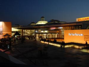 Night view of Berlin's Kulturforum, a favorite destination for tourists. Image courtesy of Kulturforum.