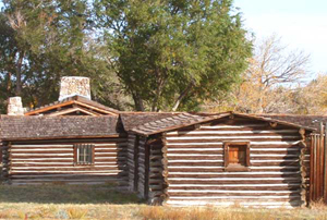 Reconstructed buildings at the site of Fort Caspar (now a museum) in Casper, Wyoming. Photo taken Oct. 17, 2004, copyright Matthew Trump. Licensed under the Creative Commons Attribution-Share Alike 3.0 Unported license.