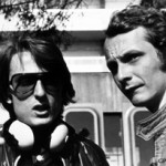 Archival image of Luca di Montezemolo (left) and Niki Lauda at the 1975 Grand Prix Monaco. Courtesy of Ferrari North America.