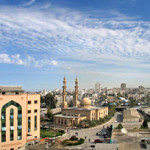 A mosque on the campus of the Islamic University of Gaza. This work is licensed under the Creative Commons Attribution-ShareAlike 3.0 License.