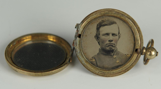 Civil War photographs often descend in the family of the subject and may be attached to important historical material. This locket with circular tintype of Capt. Oliver Pinkney McCammon (OPM) of the 3rd East Tennessee Cavalry was part of over 120 items, mostly letters of correspondence between Capt. Pinkney and his future wife during the war years of 1861-1865. The complete archive brought $10,440 in June 2012 at Case Auctions in Knoxville. Courtesy Case Auctions.