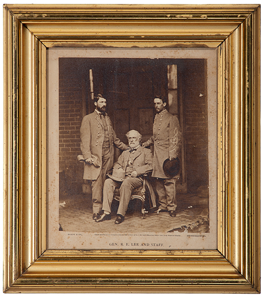 "This large albumen print titled 'General R.E. Lee and Staff' was made by Matthew Brady's firm in 1865, not long after Appomattox. A ""holy grail"" for Confederate image collectors, the photograph sold for $19,975 at Cowan's in June. Courtesy Cowan's Auctions Inc."