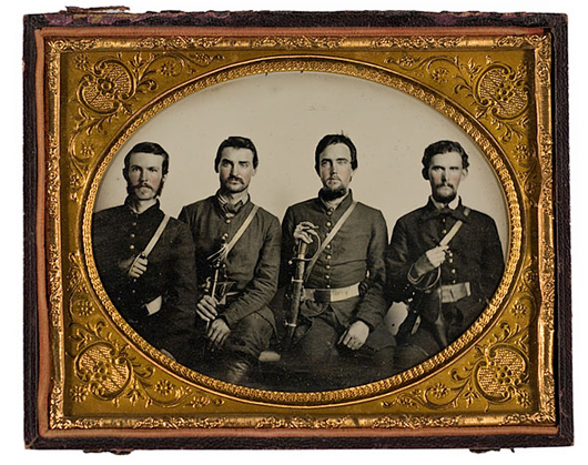 The four young Kentucky cavalrymen armed with sabers paid $4 for this half-plate ruby ambrotype before they went to war. Their names are written in pencil in the case. The well-preserved image brought $15,275 at a Cowan's auction in 2009. Courtesy Cowan's Auctions Inc.