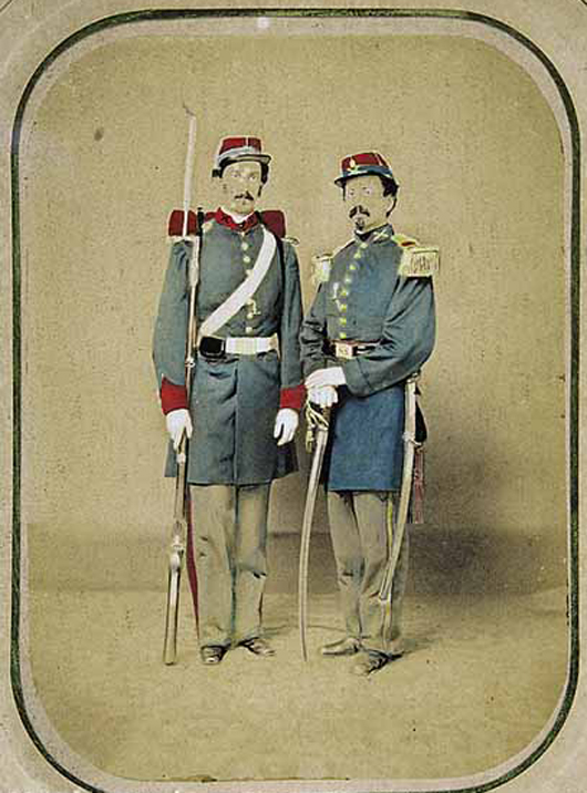 A hand-colored albumen print mounted on card shows Lt. William Miller Owen and his brother Pvt. Edward Owen as they appeared in their Confederate uniforms around 1861 at the beginning of the Civil War. Both rose in rank during the conflict. The pair sat for the photograph in New Orleans at Guay's Temple of Art, a gallery on Poydras Street. With its strong local appeal, the image brought $7,050 at the Neal Auction Co. in 2007. Courtesy Neal Auction.