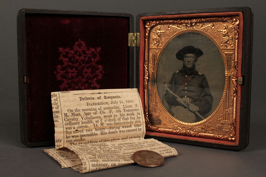 This Civil War tintype of Union soldier Sirenius M. Mort had extra value because the sitter was a member of the important Mort pottery family of Jefferson County, Tenn. The lot sold for $5,290 in 2011 at Case Auctions. As was often the case at the period, the photograph was mounted in an attractive embossed gutta-percha case for home display. Courtesy Case Auctions.