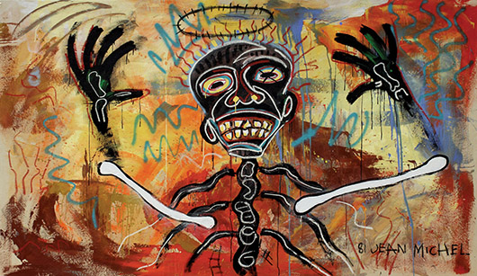 Jean-Michel Basquiat (American, 1960-1988), 'Last Rights/AM Nightime,' acrylic, oil paint stick and spray paint on canvas, 1981. Clars Auction Gallery image.