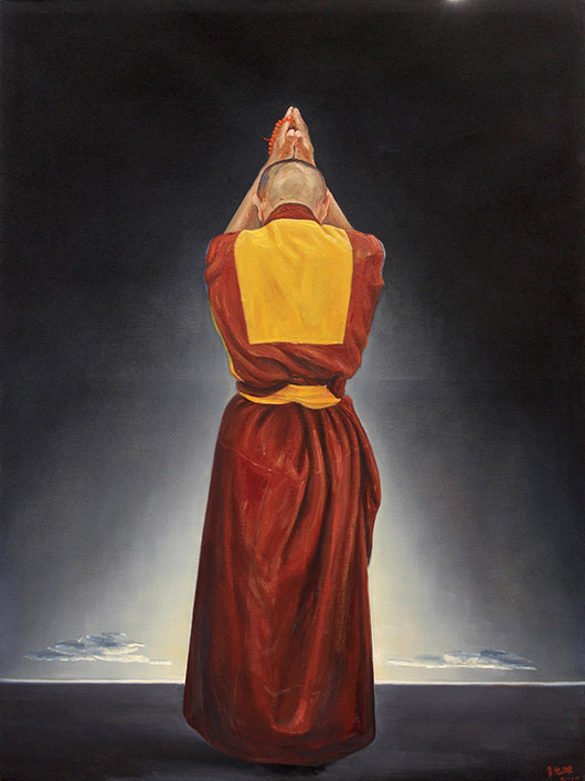 Li Guanglin (Chinese, b.1962), 'Pious Back,' 2010, colossal oil on canvas. Clars Auction Gallery image.