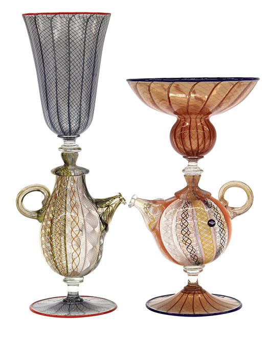 Richard Marquis studio glass teapot goblets. Clars Auction Gallery image.