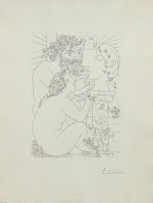 Pablo Picasso etching. Clars Auction Gallery image.
