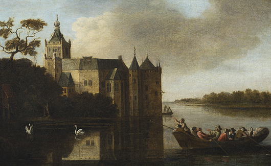 Anthony Jansz Van Croos (Dutch, 1630-1691), landscape with Montfoort Castle, Utrecht, in background, oil on canvas, est. $4,000-$6,000. Quinn's Auction Galleries image.