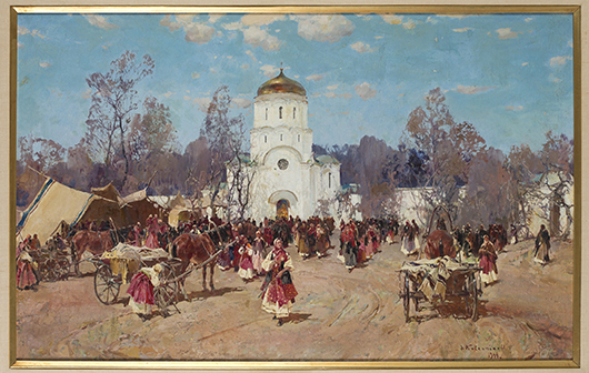 Stepan Fedorovich Kolesnikoff (Russian, 1879-1955), scene of market and church, circa 1944, oil on canvas, est. $7,000-$9,000. Quinn's Auction Galleries image.