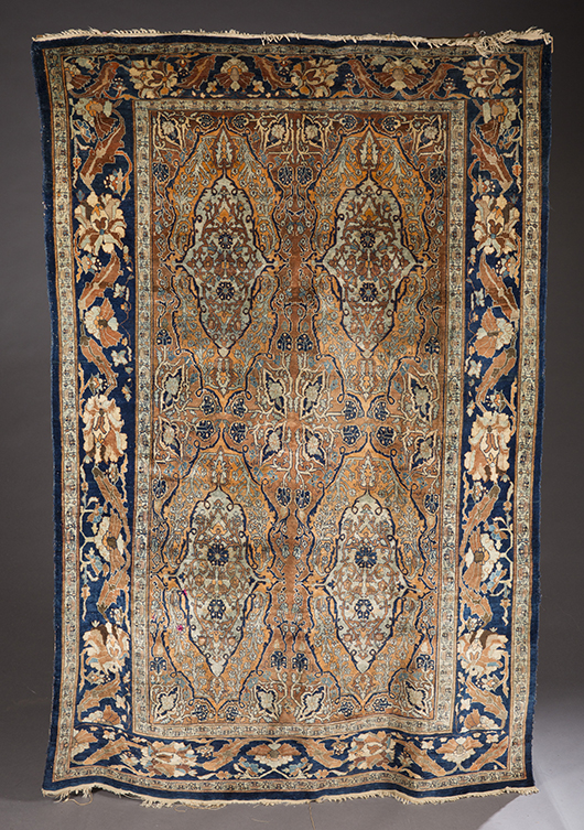 Hand-knotted silk Persian rug, circa 1900, est. $2,000-$3,000. Quinn's Auction Galleries image.