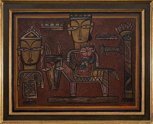 Shri Jamini Roy (Indian, 1887-1972), 'Flight into Egypt,' oil on canvas, purchased directly from the artist, est. $15,000-$20,000. Quinn's Auction Galleries image.