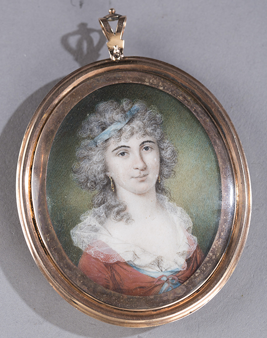 James Peale (Maryland, 1749-1831), miniature portrait on ivory, est. $2,500-$3,500. Quinn's Auction Galleries image.