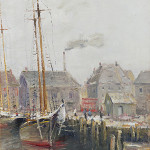 Guy Carleton Wiggins (New York/Connecticut, 1883-1962, genre painting of ship docked harborside, est. $7,000-$9,000. Quinn's Auction Galleries image.