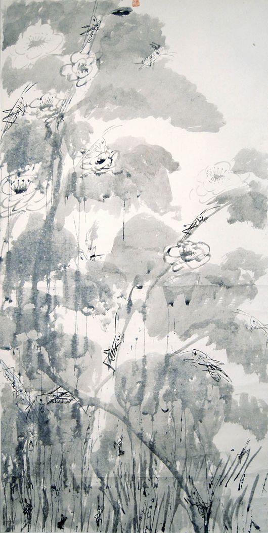 'Locust and Peony' by Walasse Ting, dated 1971. Hanging scroll, ink on paper. Titled by 'Walasse Ting' on the top of the scroll, one artist seal. Gianguan Auctions image.